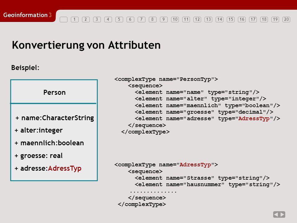 12347891011121314151617181920 Geoinformation3 56 Konvertierung von Attributen.............. Person + name:CharacterString + alter:integer + maennlich:
