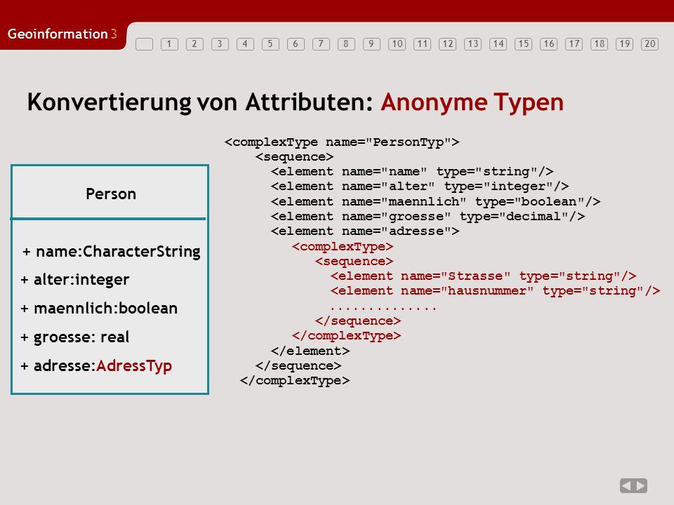 12347891011121314151617181920 Geoinformation3 56 Konvertierung von Attributen: Anonyme Typen.............. Person + name:CharacterString + alter:integ