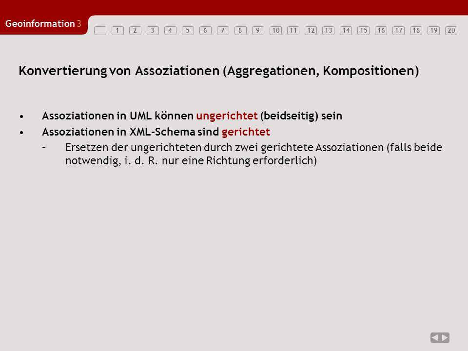 12347891011121314151617181920 Geoinformation3 56 Konvertierung von Assoziationen (Aggregationen, Kompositionen) Assoziationen in UML können ungerichte
