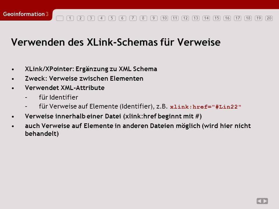 12347891011121314151617181920 Geoinformation3 56 Verwenden des XLink-Schemas für Verweise XLink/XPointer: Ergänzung zu XML Schema Zweck: Verweise zwis