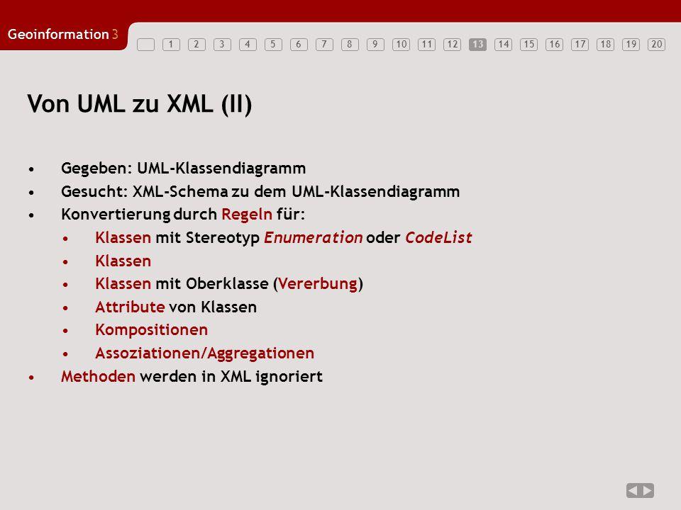 12347891011121314151617181920 Geoinformation3 5613 Von UML zu XML (II) Gegeben: UML-Klassendiagramm Gesucht: XML-Schema zu dem UML-Klassendiagramm Konvertierung durch Regeln für: Klassen mit Stereotyp Enumeration oder CodeList Klassen Klassen mit Oberklasse (Vererbung) Attribute von Klassen Kompositionen Assoziationen/Aggregationen Methoden werden in XML ignoriert