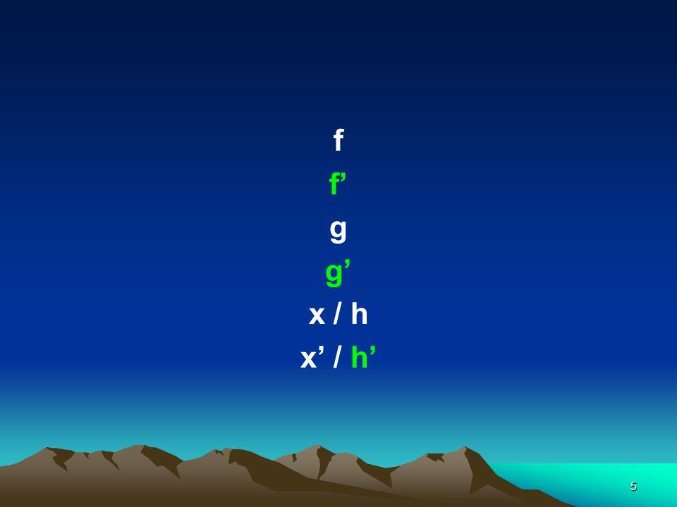 5 f f' g g' x / h x' / h'