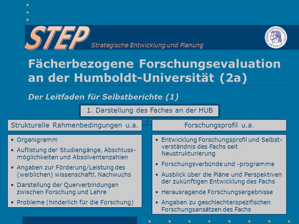 Strategische Entwicklung und Planung Fächerbezogene Forschungsevaluation an der Humboldt-Universität (2a) Der Leitfaden für Selbstberichte (1) 1.