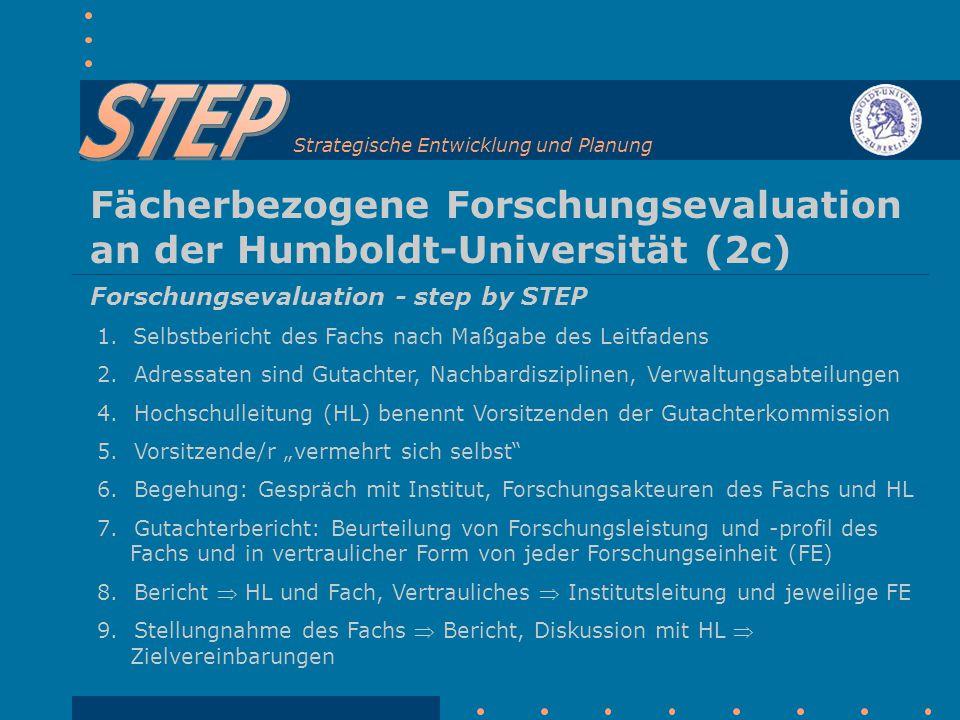 Strategische Entwicklung und Planung Fächerbezogene Forschungsevaluation an der Humboldt-Universität (2c) Forschungsevaluation - step by STEP 1.