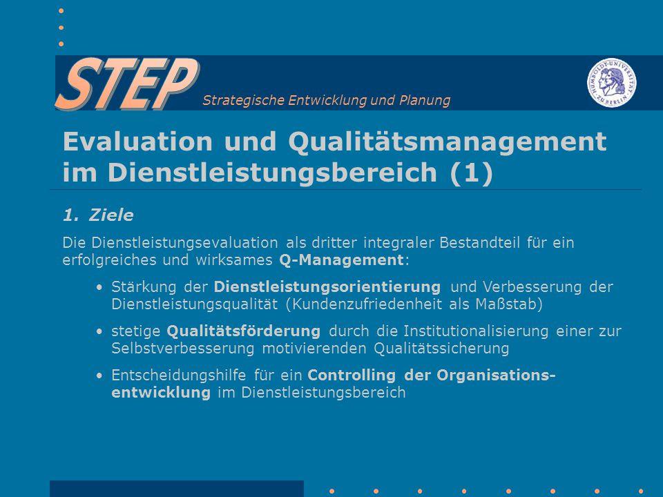 Strategische Entwicklung und Planung Evaluation und Qualitätsmanagement im Dienstleistungsbereich (1) 1.