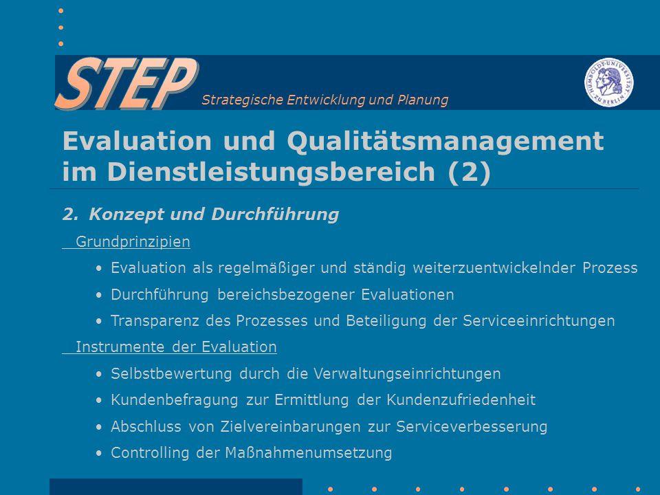 Strategische Entwicklung und Planung Evaluation und Qualitätsmanagement im Dienstleistungsbereich (2) 2.