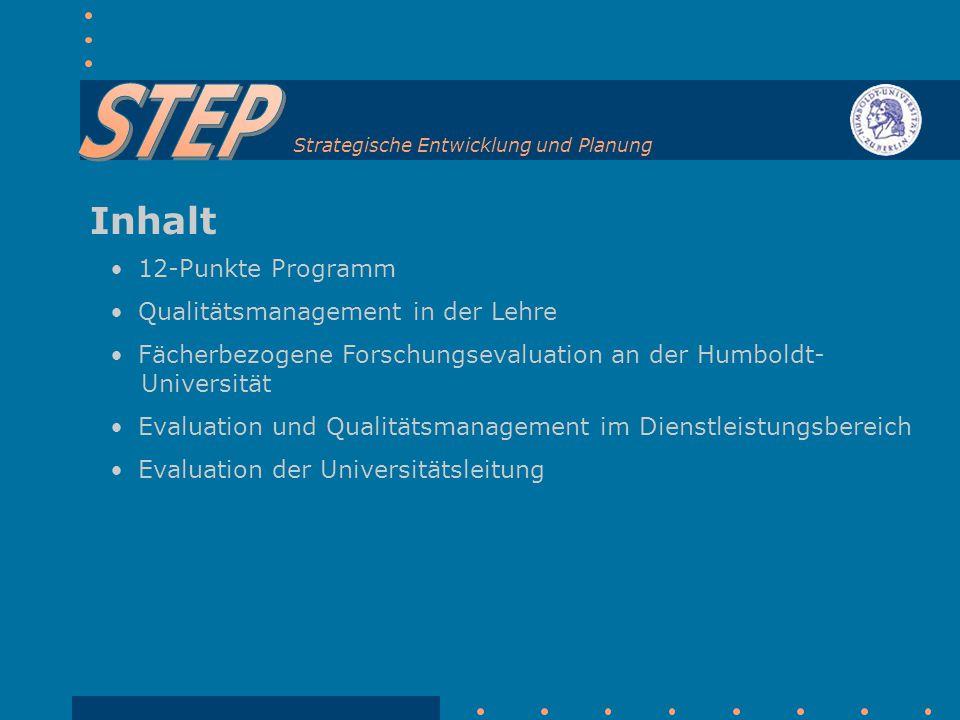 Inhalt 12-Punkte Programm Qualitätsmanagement in der Lehre Fächerbezogene Forschungsevaluation an der Humboldt- Universität Evaluation und Qualitätsmanagement im Dienstleistungsbereich Evaluation der Universitätsleitung