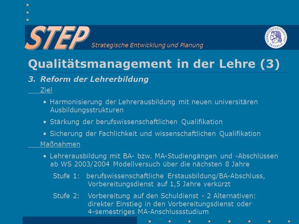 Strategische Entwicklung und Planung Qualitätsmanagement in der Lehre (3) 3.
