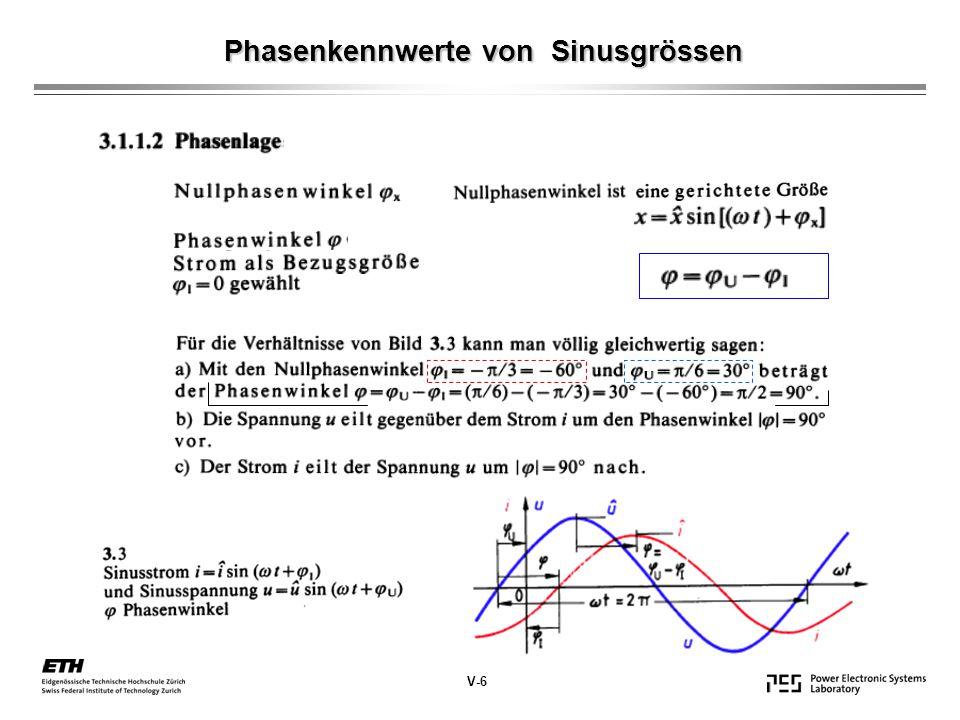 Phasenkennwerte von Sinusgrössen V-6