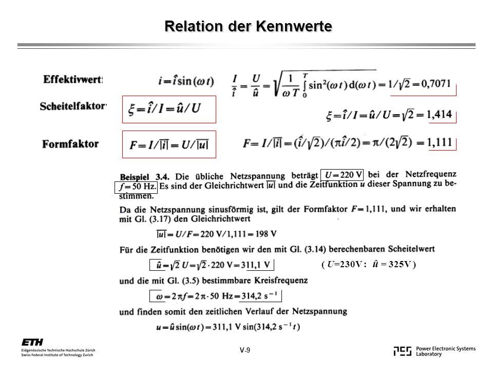 Relation der Kennwerte V-9 ( U=230V : û = 325V )