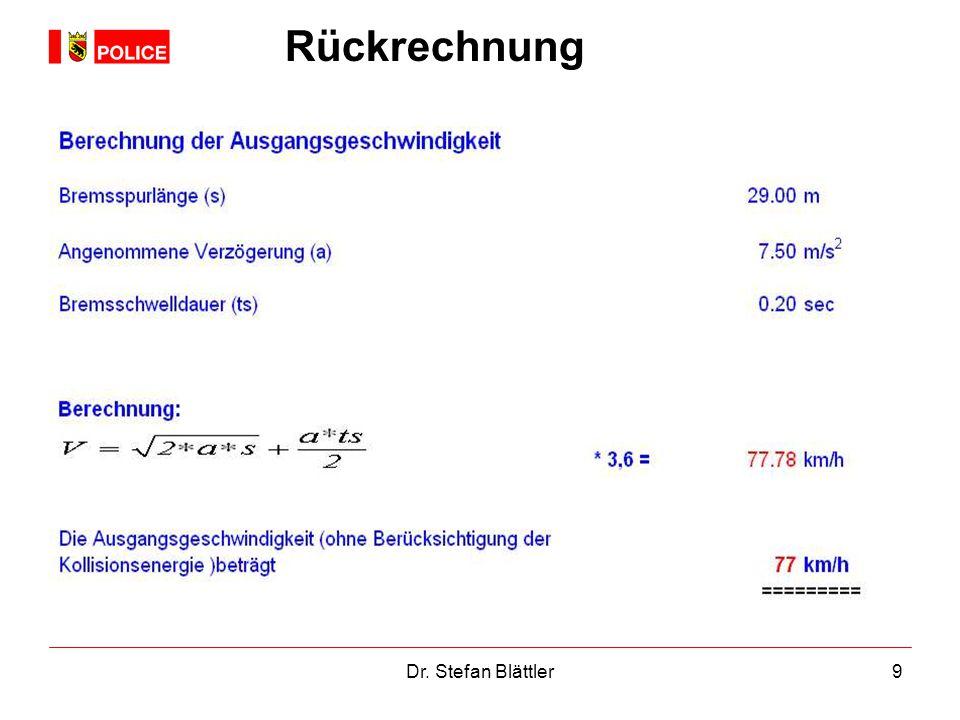Dr. Stefan Blättler9 Rückrechnung