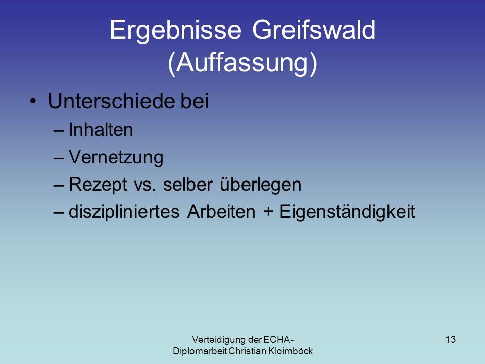 Verteidigung der ECHA- Diplomarbeit Christian Kloimböck 13 Ergebnisse Greifswald (Auffassung) Unterschiede bei –Inhalten –Vernetzung –Rezept vs.