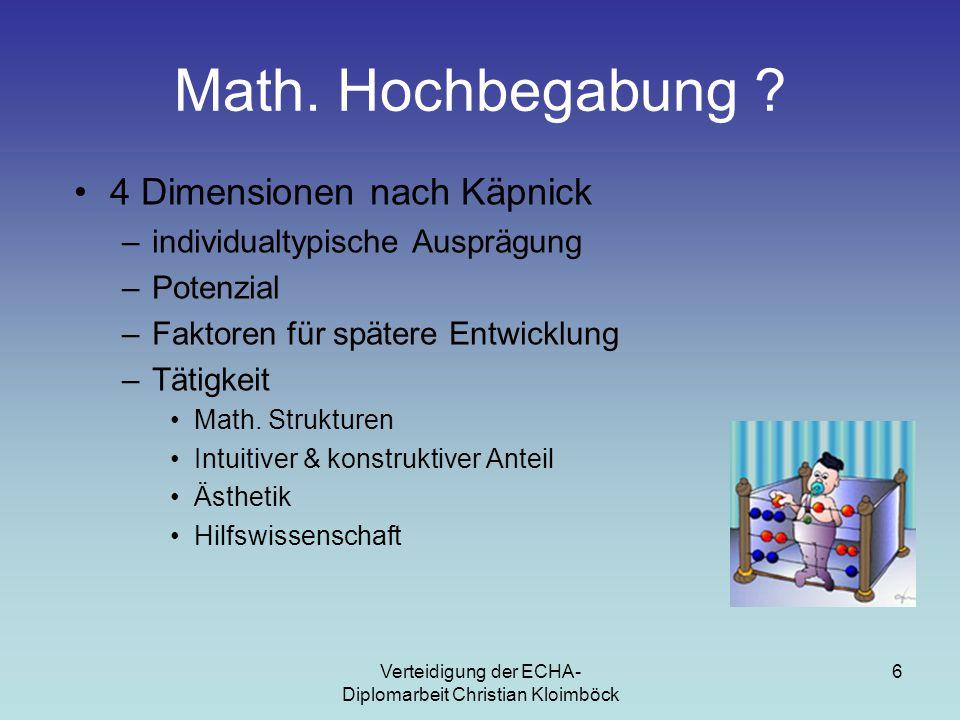 Verteidigung der ECHA- Diplomarbeit Christian Kloimböck 6 Math.
