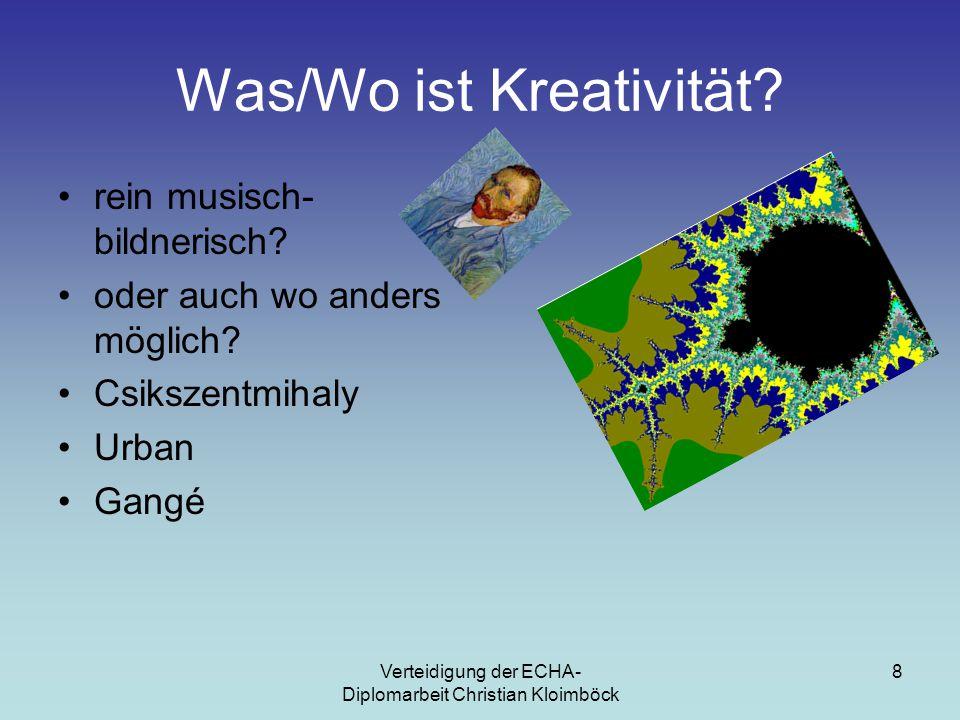 Verteidigung der ECHA- Diplomarbeit Christian Kloimböck 8 Was/Wo ist Kreativität.