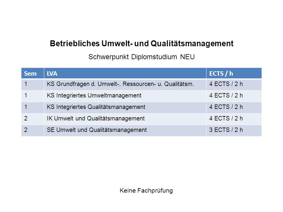 Betriebliches Umwelt- und Qualitätsmanagement Schwerpunkt Diplomstudium NEU Keine Fachprüfung SemLVAECTS / h 1KS Grundfragen d.