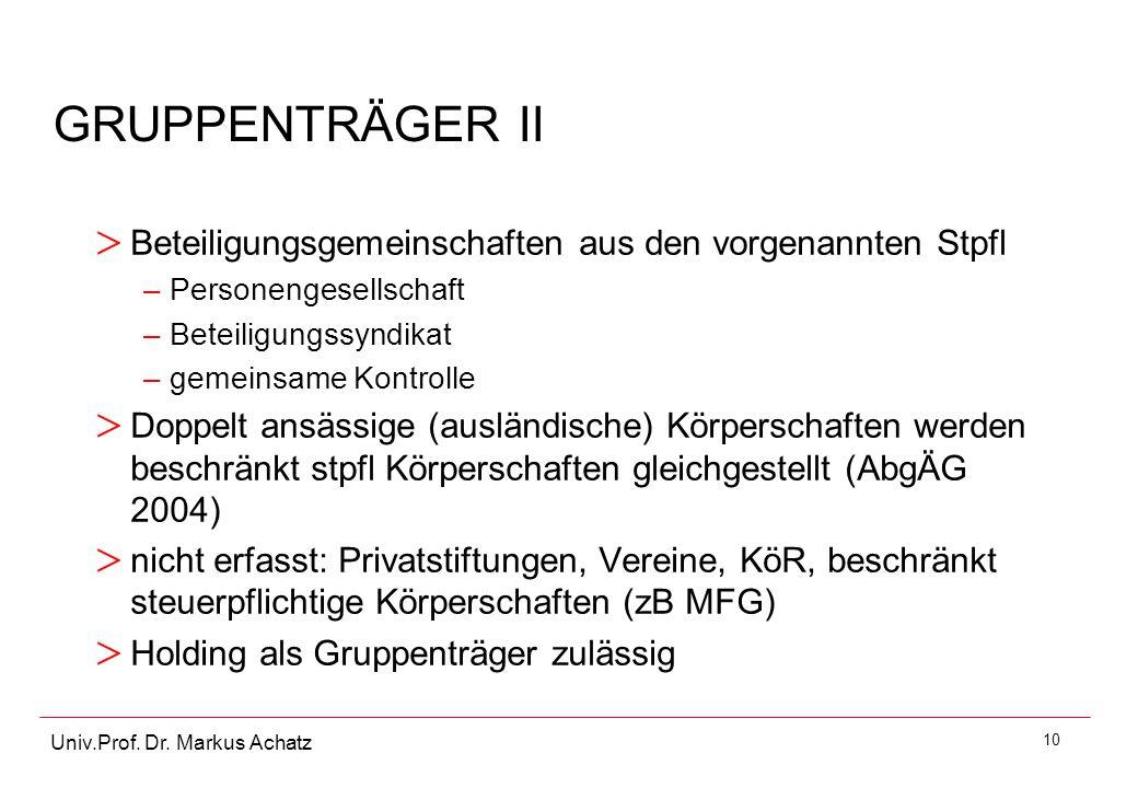 10 Univ.Prof. Dr. Markus Achatz GRUPPENTRÄGER II > Beteiligungsgemeinschaften aus den vorgenannten Stpfl –Personengesellschaft –Beteiligungssyndikat –
