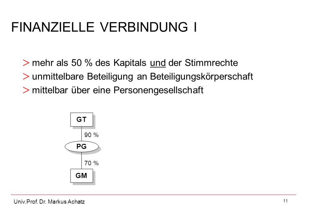 11 Univ.Prof. Dr. Markus Achatz FINANZIELLE VERBINDUNG I > mehr als 50 % des Kapitals und der Stimmrechte > unmittelbare Beteiligung an Beteiligungskö