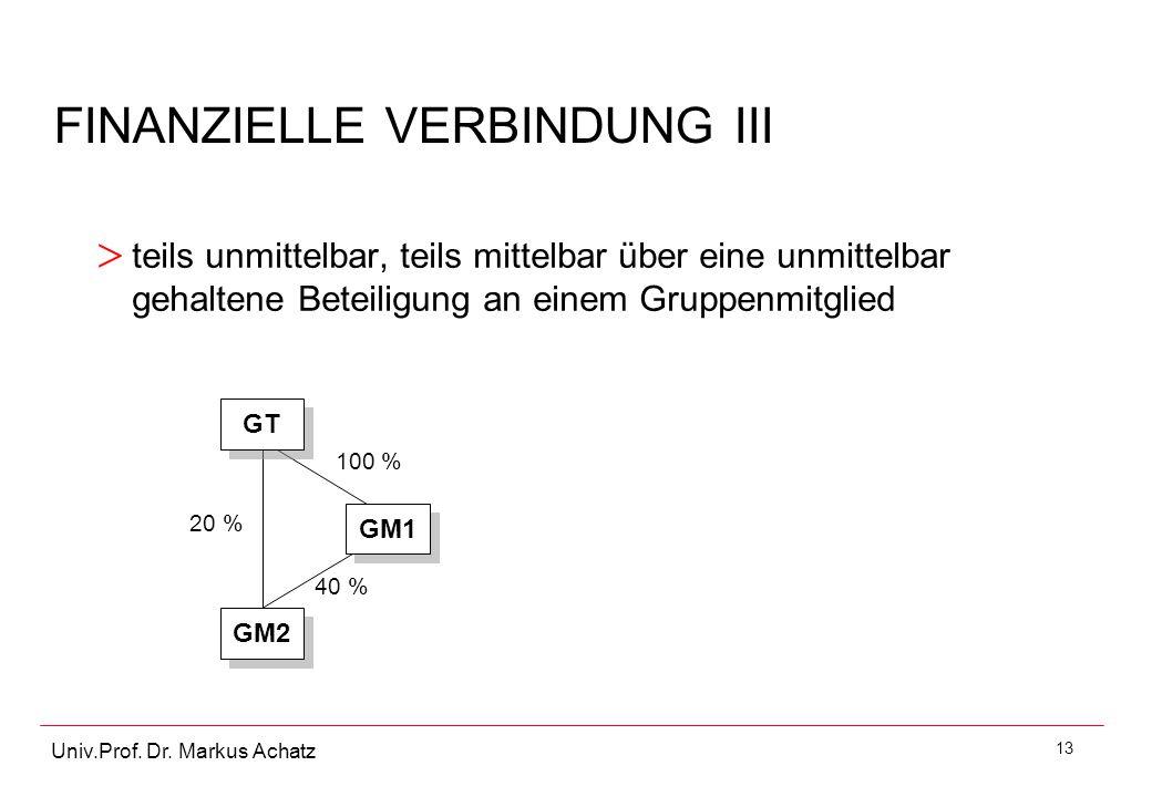 13 Univ.Prof. Dr. Markus Achatz > teils unmittelbar, teils mittelbar über eine unmittelbar gehaltene Beteiligung an einem Gruppenmitglied FINANZIELLE