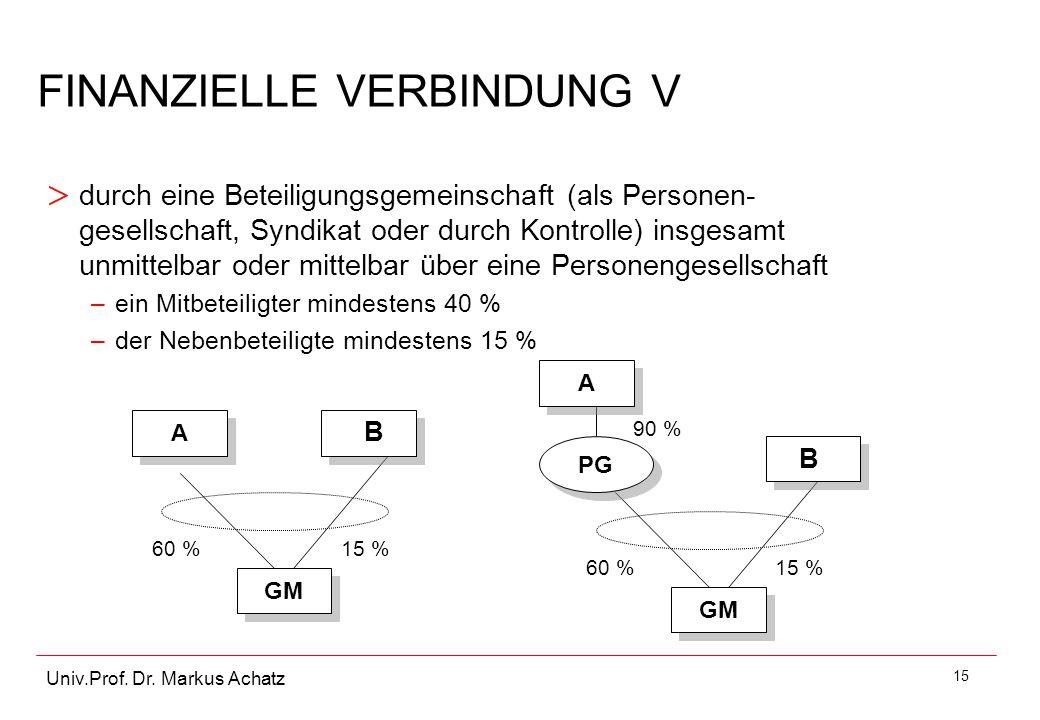 15 Univ.Prof. Dr. Markus Achatz > durch eine Beteiligungsgemeinschaft (als Personen- gesellschaft, Syndikat oder durch Kontrolle) insgesamt unmittelba