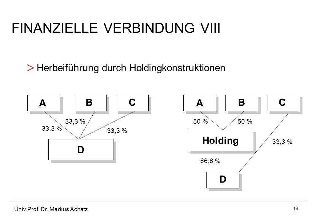 18 Univ.Prof. Dr. Markus Achatz FINANZIELLE VERBINDUNG VIII > Herbeiführung durch Holdingkonstruktionen D D Holding A BC 33,3 % A BC D 50 % 66,6 %