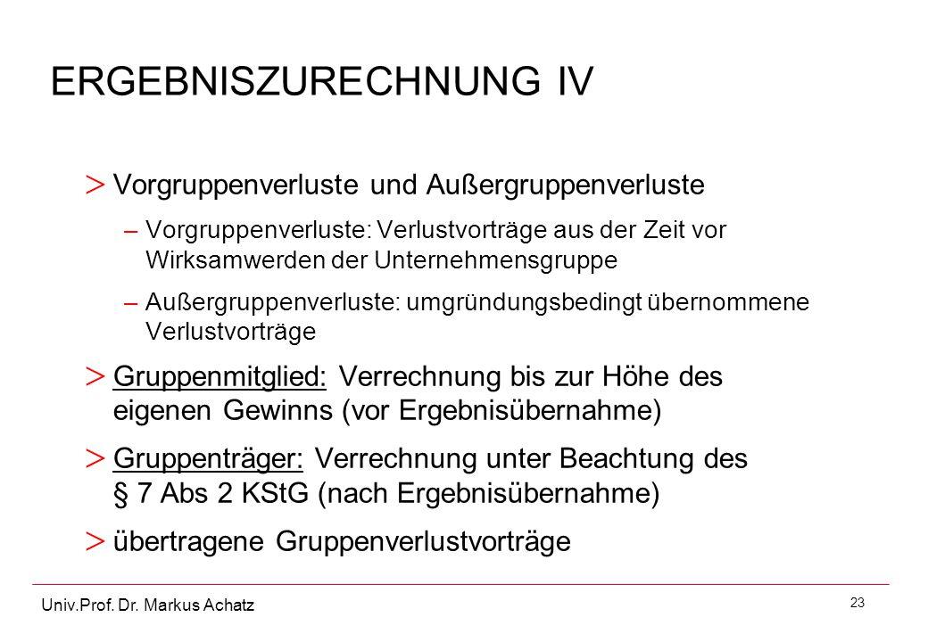 23 Univ.Prof. Dr. Markus Achatz ERGEBNISZURECHNUNG IV > Vorgruppenverluste und Außergruppenverluste –Vorgruppenverluste: Verlustvorträge aus der Zeit