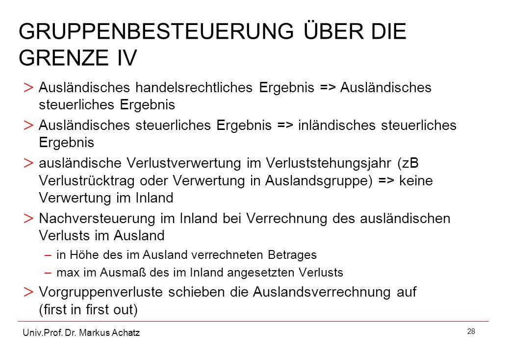 28 Univ.Prof. Dr. Markus Achatz GRUPPENBESTEUERUNG ÜBER DIE GRENZE IV > Ausländisches handelsrechtliches Ergebnis => Ausländisches steuerliches Ergebn