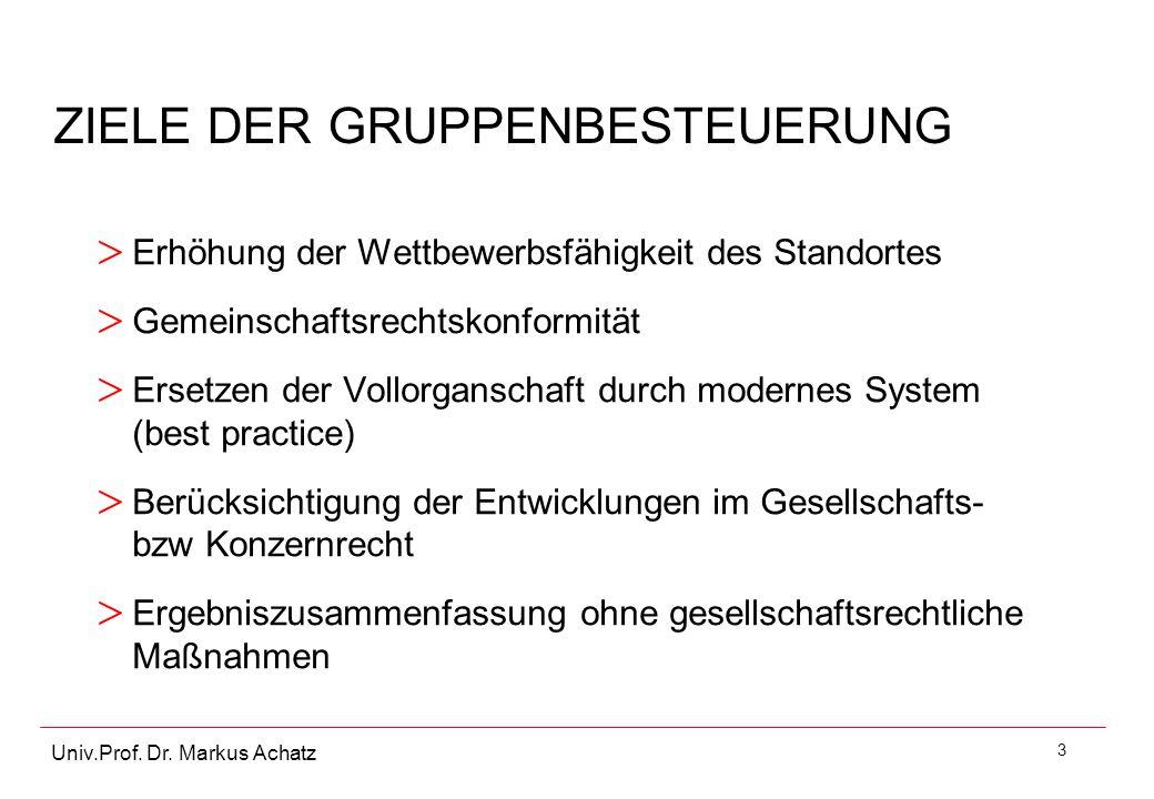 3 Univ.Prof. Dr. Markus Achatz ZIELE DER GRUPPENBESTEUERUNG > Erhöhung der Wettbewerbsfähigkeit des Standortes > Gemeinschaftsrechtskonformität > Erse