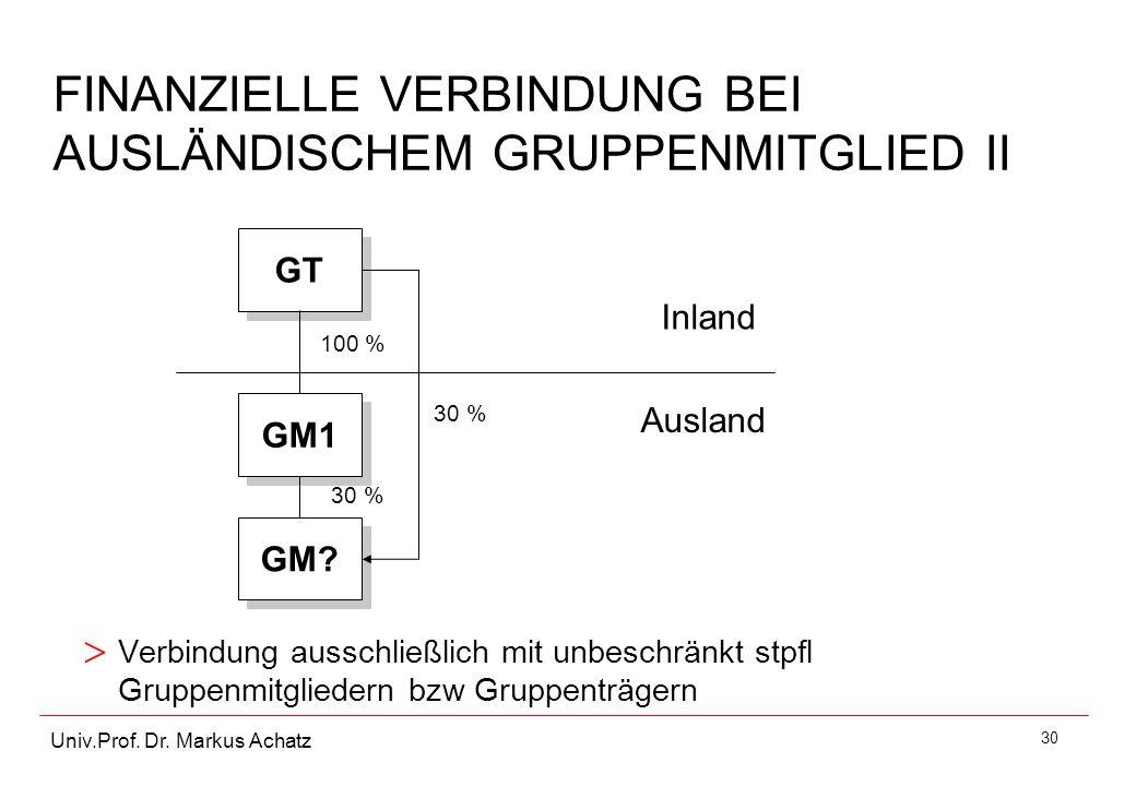 30 Univ.Prof. Dr. Markus Achatz FINANZIELLE VERBINDUNG BEI AUSLÄNDISCHEM GRUPPENMITGLIED II > Verbindung ausschließlich mit unbeschränkt stpfl Gruppen