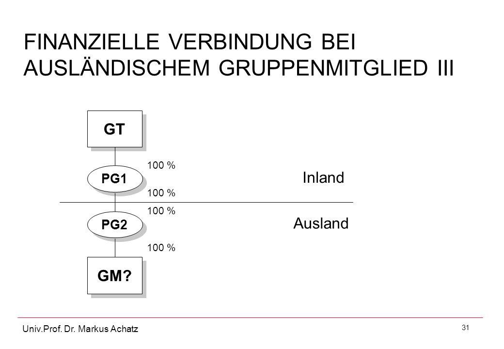 31 Univ.Prof. Dr. Markus Achatz FINANZIELLE VERBINDUNG BEI AUSLÄNDISCHEM GRUPPENMITGLIED III GT GM? PG1 PG2 Inland Ausland 100 %