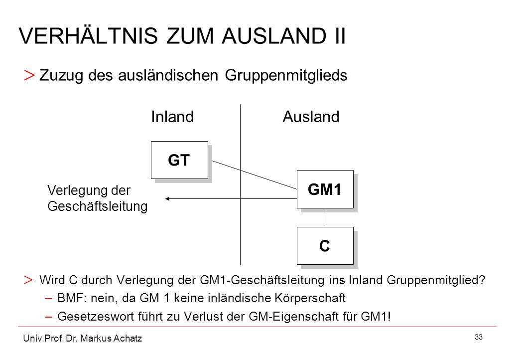 33 Univ.Prof. Dr. Markus Achatz VERHÄLTNIS ZUM AUSLAND II > Wird C durch Verlegung der GM1-Geschäftsleitung ins Inland Gruppenmitglied? –BMF: nein, da