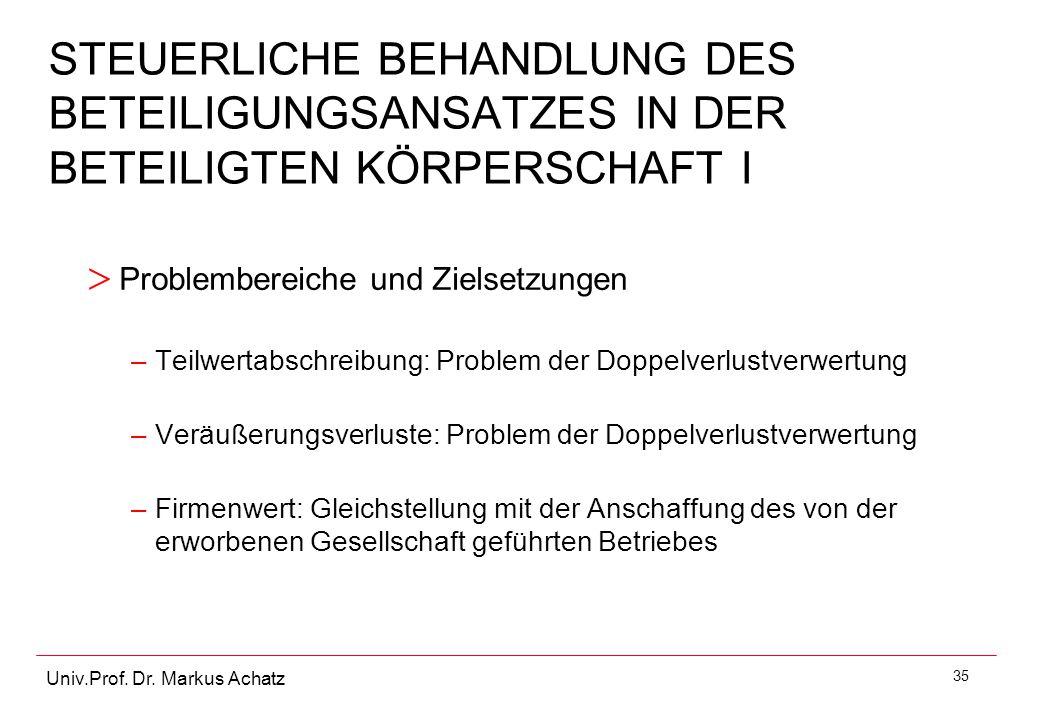 35 Univ.Prof. Dr. Markus Achatz STEUERLICHE BEHANDLUNG DES BETEILIGUNGSANSATZES IN DER BETEILIGTEN KÖRPERSCHAFT I > Problembereiche und Zielsetzungen