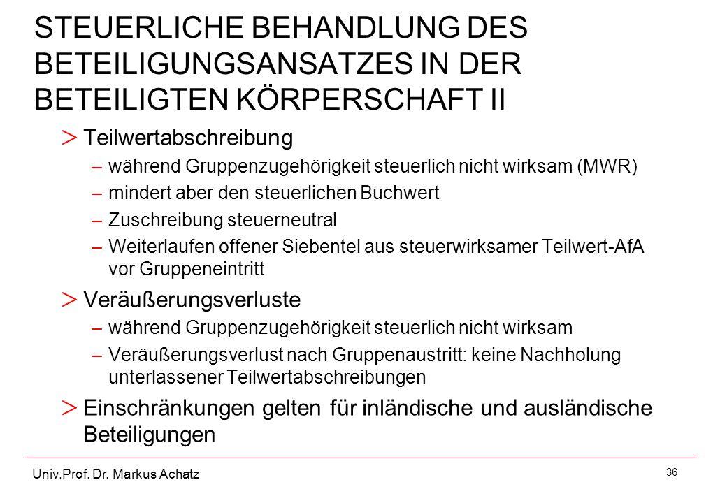 36 Univ.Prof. Dr. Markus Achatz STEUERLICHE BEHANDLUNG DES BETEILIGUNGSANSATZES IN DER BETEILIGTEN KÖRPERSCHAFT II > Teilwertabschreibung –während Gru