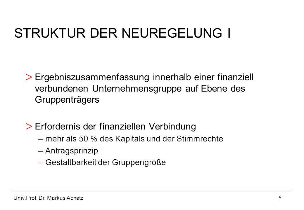 4 Univ.Prof. Dr. Markus Achatz STRUKTUR DER NEUREGELUNG I > Ergebniszusammenfassung innerhalb einer finanziell verbundenen Unternehmensgruppe auf Eben