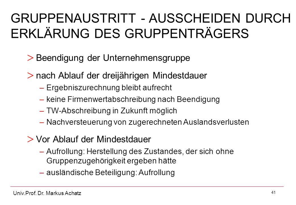 41 Univ.Prof. Dr. Markus Achatz GRUPPENAUSTRITT - AUSSCHEIDEN DURCH ERKLÄRUNG DES GRUPPENTRÄGERS > Beendigung der Unternehmensgruppe > nach Ablauf der