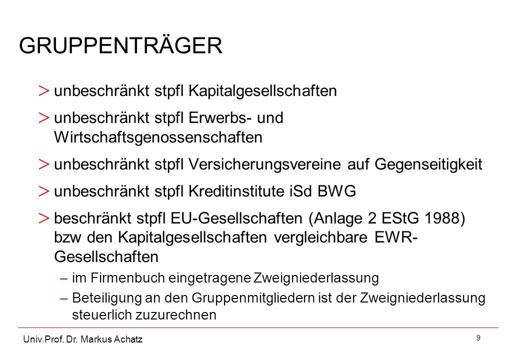 9 Univ.Prof. Dr. Markus Achatz GRUPPENTRÄGER > unbeschränkt stpfl Kapitalgesellschaften > unbeschränkt stpfl Erwerbs- und Wirtschaftsgenossenschaften