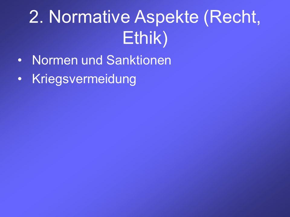 2. Normative Aspekte (Recht, Ethik) Normen und Sanktionen Kriegsvermeidung