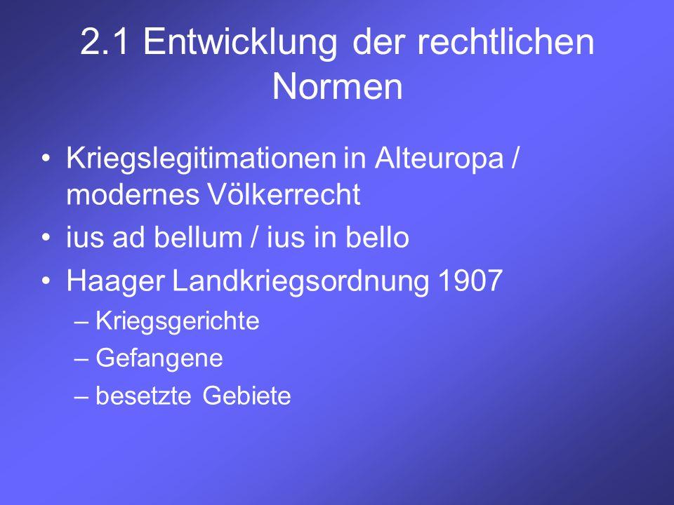 2.1 Entwicklung der rechtlichen Normen Kriegslegitimationen in Alteuropa / modernes Völkerrecht ius ad bellum / ius in bello Haager Landkriegsordnung