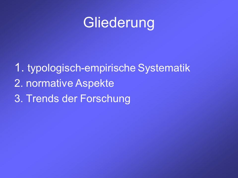 Gliederung 1. typologisch-empirische Systematik 2. normative Aspekte 3. Trends der Forschung
