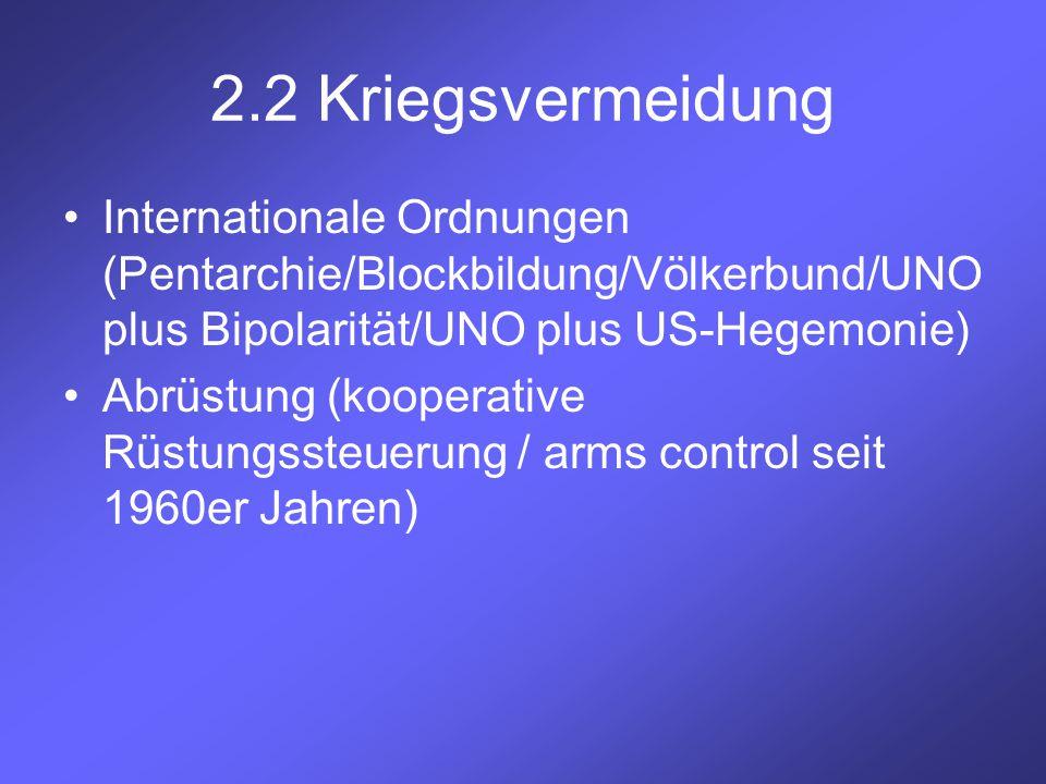 2.2 Kriegsvermeidung Internationale Ordnungen (Pentarchie/Blockbildung/Völkerbund/UNO plus Bipolarität/UNO plus US-Hegemonie) Abrüstung (kooperative R