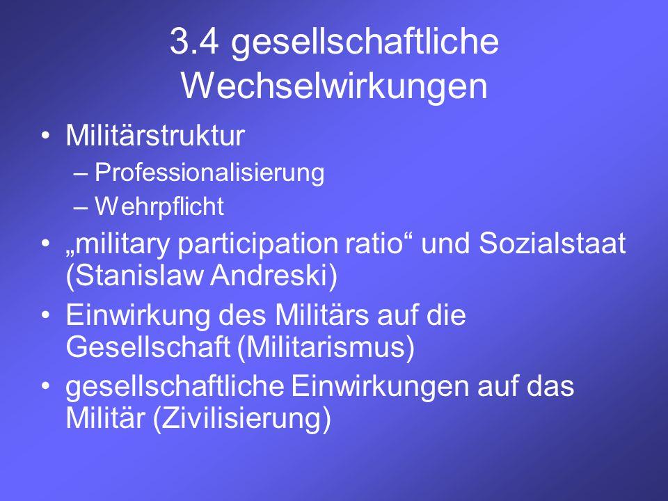 """3.4 gesellschaftliche Wechselwirkungen Militärstruktur –Professionalisierung –Wehrpflicht """"military participation ratio"""" und Sozialstaat (Stanislaw An"""