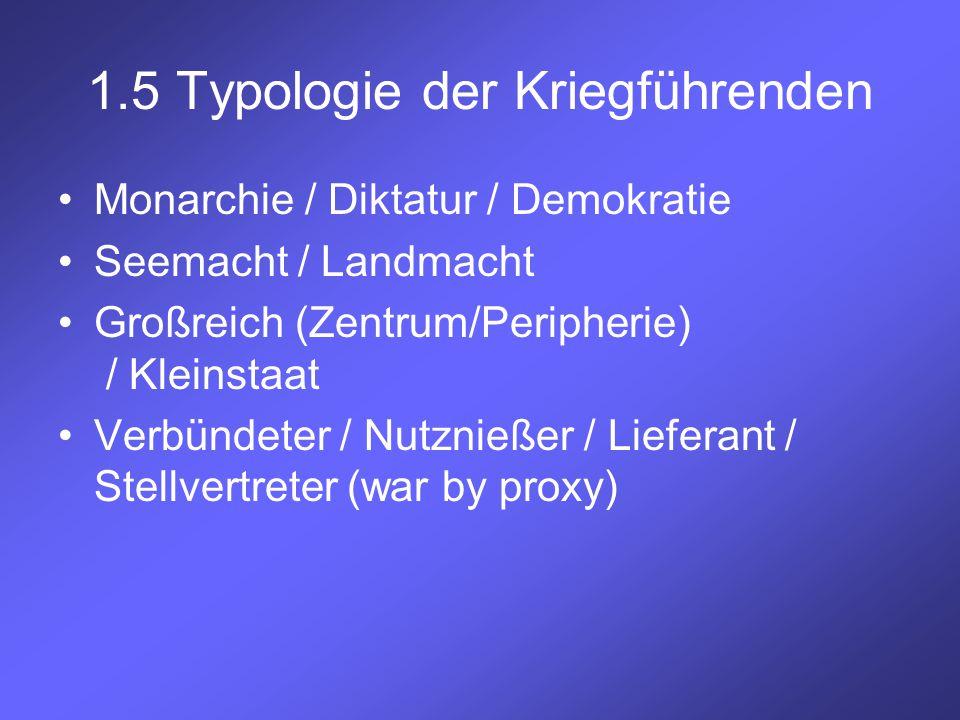 1.5 Typologie der Kriegführenden Monarchie / Diktatur / Demokratie Seemacht / Landmacht Großreich (Zentrum/Peripherie) / Kleinstaat Verbündeter / Nutz