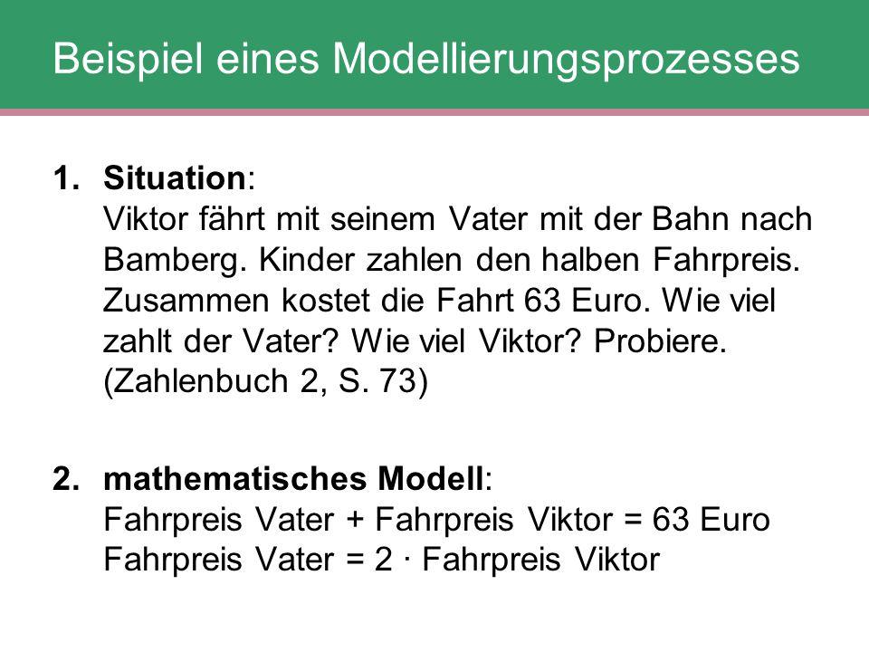 Beispiel eines Modellierungsprozesses 1.Situation: Viktor fährt mit seinem Vater mit der Bahn nach Bamberg. Kinder zahlen den halben Fahrpreis. Zusamm