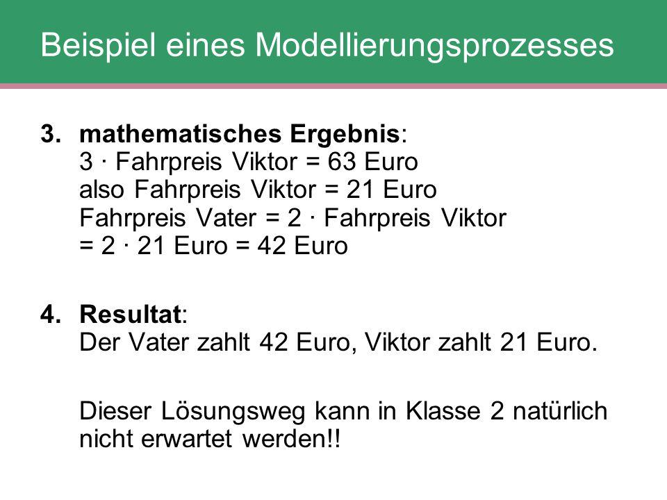 Beispiel eines Modellierungsprozesses 3. mathematisches Ergebnis: 3 · Fahrpreis Viktor = 63 Euro also Fahrpreis Viktor = 21 Euro Fahrpreis Vater = 2 ·