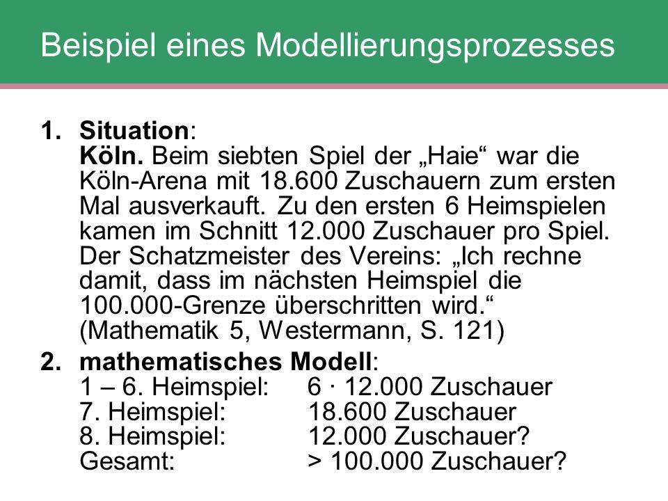 """Beispiel eines Modellierungsprozesses 1.Situation: Köln. Beim siebten Spiel der """"Haie"""" war die Köln-Arena mit 18.600 Zuschauern zum ersten Mal ausverk"""