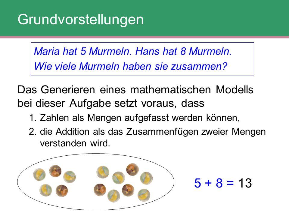 Maria hat 5 Murmeln. Hans hat 8 Murmeln. Wie viele Murmeln haben sie zusammen? 5 + 8 = 13 Grundvorstellungen Das Generieren eines mathematischen Model
