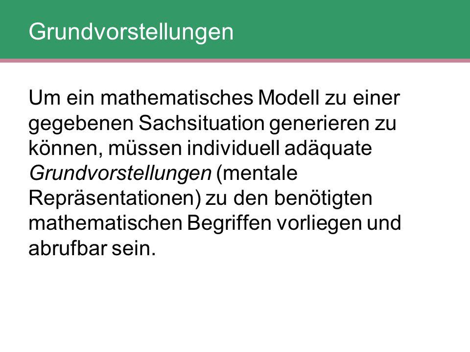 Um ein mathematisches Modell zu einer gegebenen Sachsituation generieren zu können, müssen individuell adäquate Grundvorstellungen (mentale Repräsenta