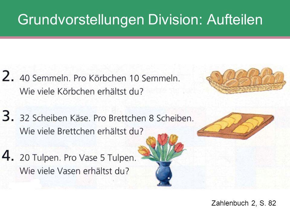 Zahlenbuch 2, S. 82 Grundvorstellungen Division: Aufteilen