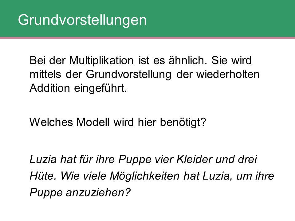 Welches Modell wird hier benötigt? Luzia hat für ihre Puppe vier Kleider und drei Hüte. Wie viele Möglichkeiten hat Luzia, um ihre Puppe anzuziehen? B