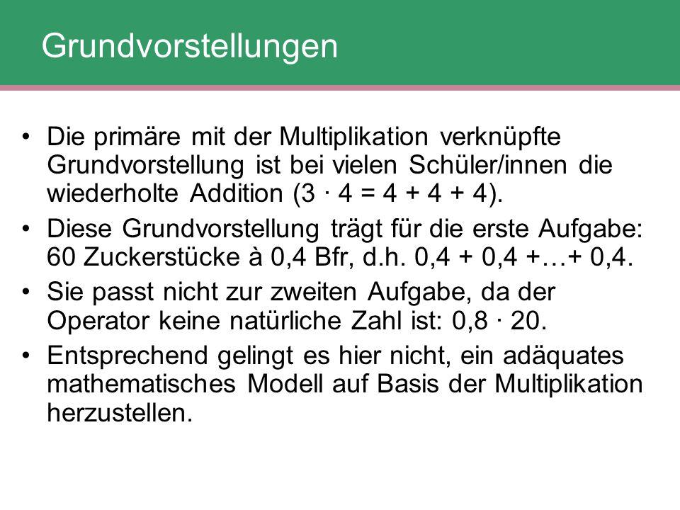 Die primäre mit der Multiplikation verknüpfte Grundvorstellung ist bei vielen Schüler/innen die wiederholte Addition (3 · 4 = 4 + 4 + 4). Diese Grundv