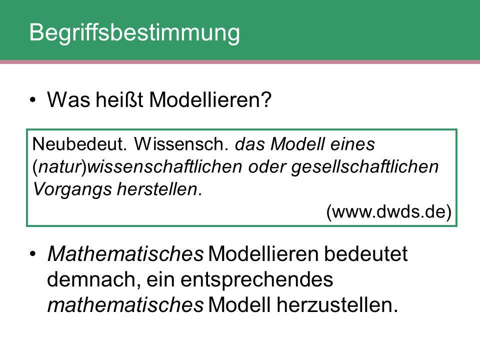 """Begriffsbestimmung In der Mathematikdidaktik wird unter """"Modellieren allerdings nicht nur das Generieren eines mathematischen Modells verstanden, sondern auch das Anwenden und das Validieren dieses Modells."""